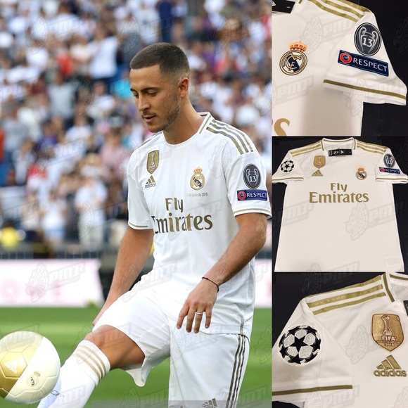 sports shoes c6214 0c4dc Eden Hazard #7 Real Madrid Home Soccer Jersey UEFA NWT